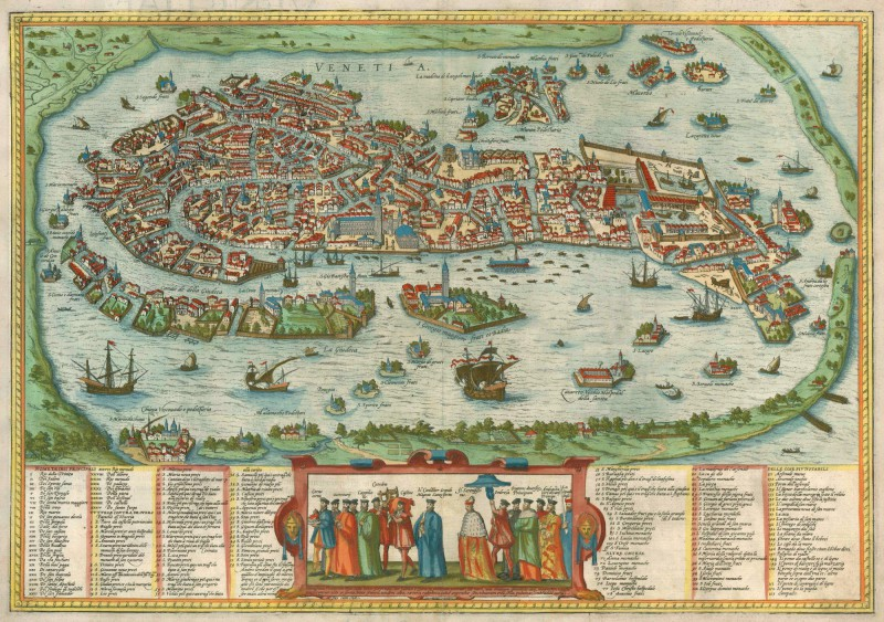 Antique map of Venice (Venezia) by Braun and Hogenberg ...